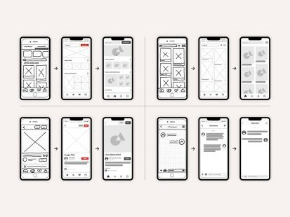 Mobile phone Wireframe design and concept